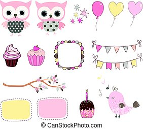 Cute birthday set with cute pink owls and balloons for baby showers, greeting cards and scrapbooking