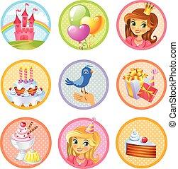 Cute birthday stickers