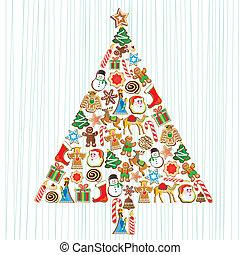 cute, biscoito, árvore natal