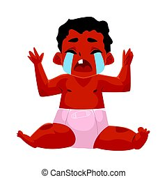 Cute black, African American baby, child in diaper crying hard
