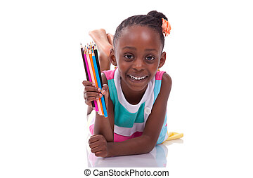 Cute black african american little girl holding color pencil, isolated on white background - African people - Children