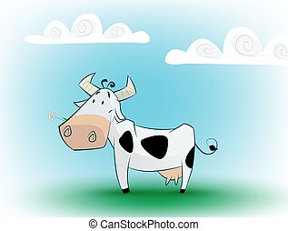 Cute black and white cow eating daisy.