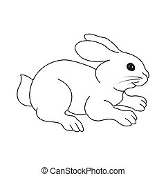 Cute black and white empty outline of a hare. Vector illustration for coloring book. Isolated on white background