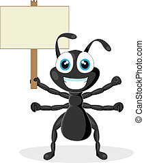 cute black ant with wood sign - vector illustration of a ...