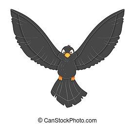 Cute Black Bird Flying