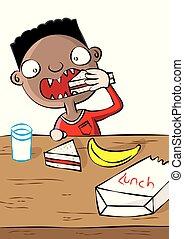 cute black boy having lunch in school