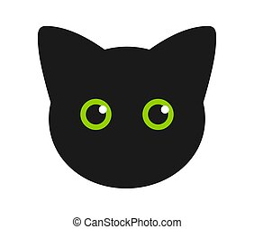Cute black cat face with green eyes.