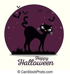 cute black cat happy halloween