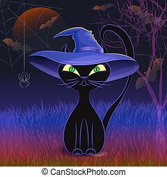 Cute black cat in a witch's hat card template - Halloween...