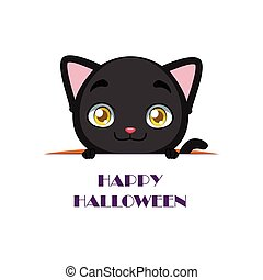 Cute black cat peeking out with Happy Halloween text beneath...