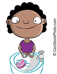 cute black girl washing hands disease prevention hygiene vector illustration