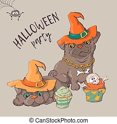 Cute black kitten and dog wearing funny and fancy Halloween hats laying with an illuminated jack-o-lantern pumpkin