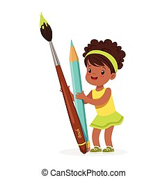 Cute black little girl holding giant light blue pencil and paintbrush cartoon vector Illustration