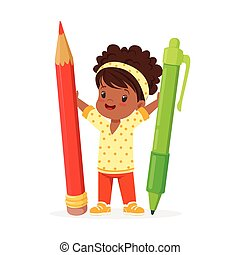 Cute black little girl holding giant red pencil and green...