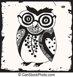 Cute black owl with glasses on white background with black...
