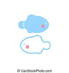 Cute black pisces icon on white background