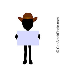 Cute Black Silhouette Cowboy Guy Holding a Blank Business...