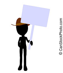 Cute Black Silhouette Cowboy Guy Holding A Blank Sign - Cute...