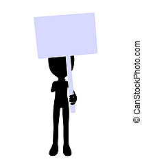 Cute Black Silhouette Guy Holding A Blank Sign - Cute black...