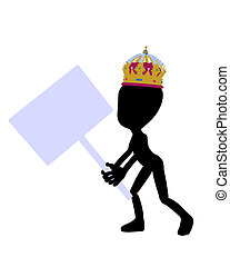 Cute Black Silhouette King Guy Holding A Blank Sign - Cute...