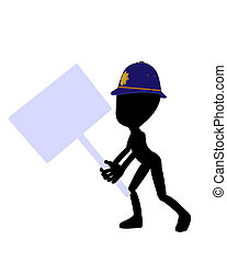 Cute Black Silhouette Police Guy Holding A Blank Sign - Cute...