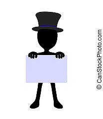 Cute Black Silhouette Top Hat Guy Holding a Blank Business...