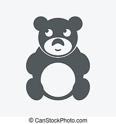 Cute black teddy bear icon on white background