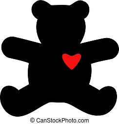 Cute black teddy bear icon with red heart isolated on white background
