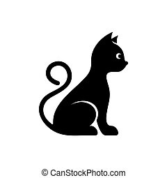 Cute black vector cat icon