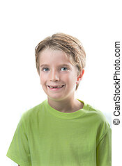Cute blond boy with his front teeth missing
