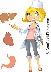 Cute blond girl doctor - indicating that the liver, heart,...