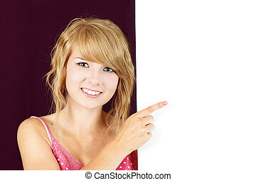 Cute blond girl holding blank sign