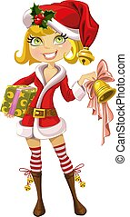 cute blond girl in red Santa suit with bell
