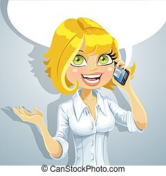 Cute blond girl talking on the phone about something pleasant