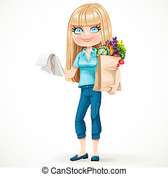 Cute blond girl with paper bag fresh fruits and vegetables and notepad with a shopping list standing on a white background