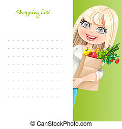Cute blond girl with paper bag fresh fruits and vegetables hold white banner shopping list