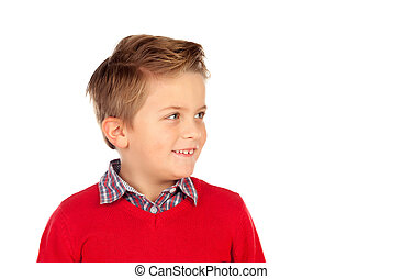 Cute blond kid with red jersey