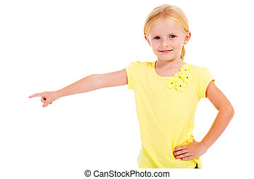 cute blond little girl pointing