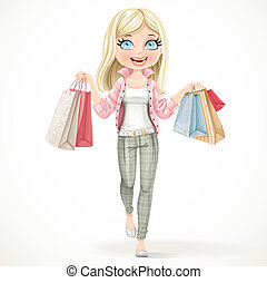 Cute blond shopaholic girl goes with paper bags in hands isolated on a white background