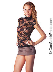 Cute blond smiling woman dressed in a skirt and transparent ...