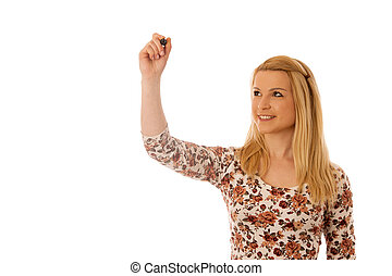Cute blond woman writing on blank transparent board with a marker isolated over white background
