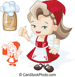 Cute blond young beergirl in red dirndl is showing thumbs-up sign