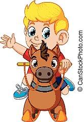 cute, blonde, dreng, på, en, legetøj hest