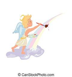 Cute blonde hair angel boy painting rainbow