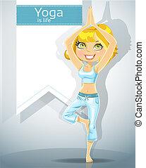 cute blonde in a yoga pose tree