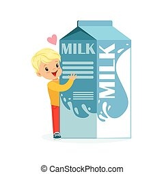 Cute blonde little boy and funny milk carton box with smiling human face playing and having fun, healthy childrens food cartoon characters vector Illustration