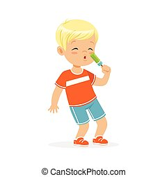 Cute blonde little boy character eating ice cream cartoon vector Illustration