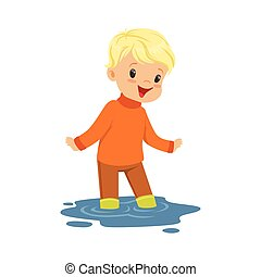 Cute blonde little boy playing on a puddle wearing cartoon vector Illustration