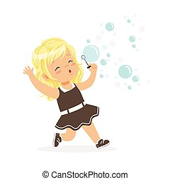 Cute blonde little girl blowing bubbles vector Illustration