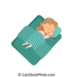Cute Blonde Little Girl Sleeping Sweetly in her Bed under Blanket, Bedtime, Sweet Dreams of Adorable Kid Concept Cartoon Style Vector Illustration
